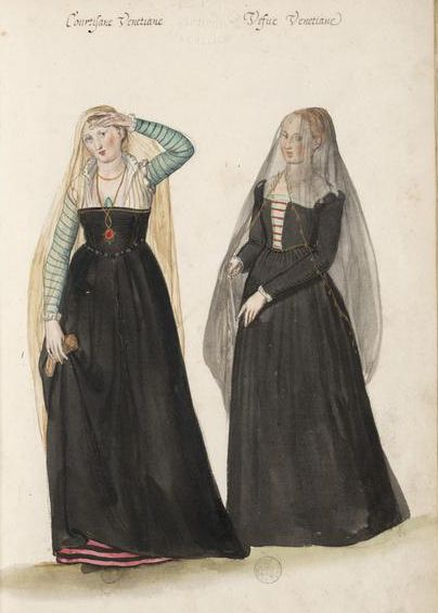 Venetian courtesan - widow http://demodecouture.com/2012/01/lucas-de-heere-16th-c-costume-illustrations/