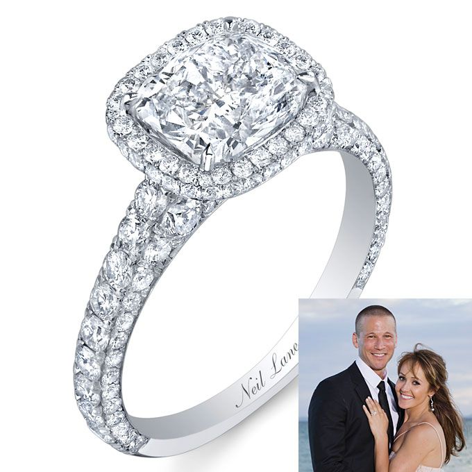 Neil Lane Platinum Engagement Ring With A Cushion Cut Diamond And R
