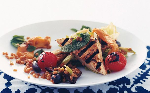 Wheat-Berry Salad with Grilled Tofu | Healthy Eats | Pinterest