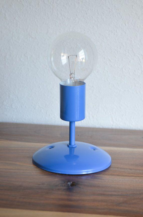 Blue Bathroom Wall Sconces : Cobalt Blue Industrial modern wall sconce light. Globe light bulb. Ba?