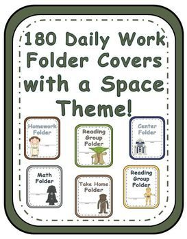 Fern Smith's Elementary Work Folders / Daily Folders Covers ~ Space Theme ~ * 180 pages of different work folder covers.  Each folder comes in all six characters. Use one space character for your high reading group. Use a different space character for your middle group, etc. :) Same with Math Stations, the mixing and matching is endless! $5