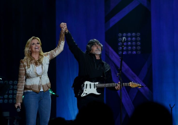 """Alabama frontman Randy Owen brings out Trisha Yearwood for a surprise performance of the band's GRAMMY-nominated track """"Forever's As Far As I'll Go"""" on Nov. 4 at the Ryman Auditorium in Nashville, Tenn."""