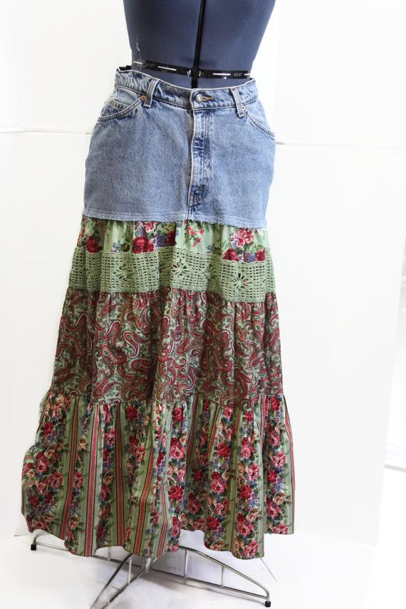 upcycled skirt hippie patchwork skirt handmade