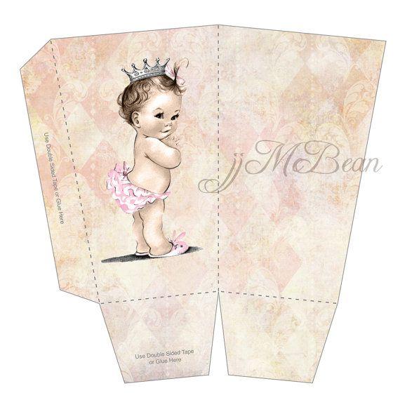 Baby Shower Favors Vintage ~ Vintage baby shower favor box for girl princess crown