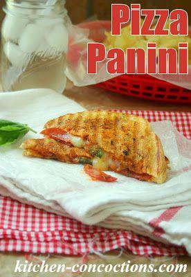 Pepperoni Pizza Panini #recipe #lunch #pizza #sandwich