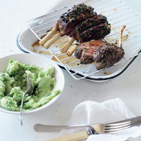 Herb-crusted Rack of Lamb with Minted Pea Puree, page 20.