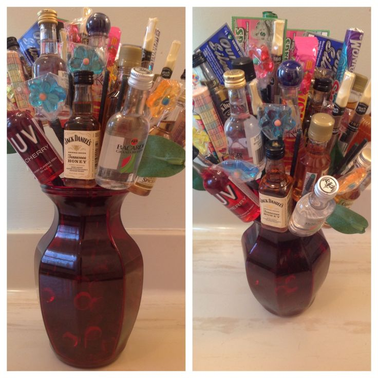 Man flowers airplane bottles candy and lottery tickets