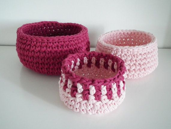 Crochet Gifts : Crochet baskets Housewares Holiday gift idea by LoopingHome