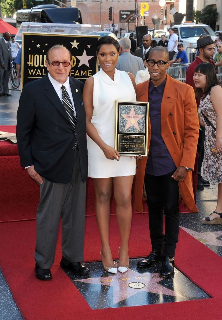 Another star is born. Clive Davis and Raphael Saadiq support Jennifer Hudson as she receives a star on the Hollywood Walk of Fame on Nov. 13 in Hollywood, Calif.