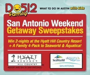Win a 2-night stay at the Hyatt Regency Hill Country Resort and Spa + a family 4-pack to Aquatica & SeaWorld San Antonio, courtesy of Do512 Family: What to Do in Austin with Kids. http://is.gd/ZnlNcO