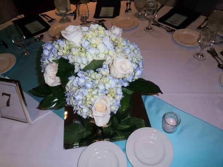 Tiffany blue hydrangea centerpieces winter weddings