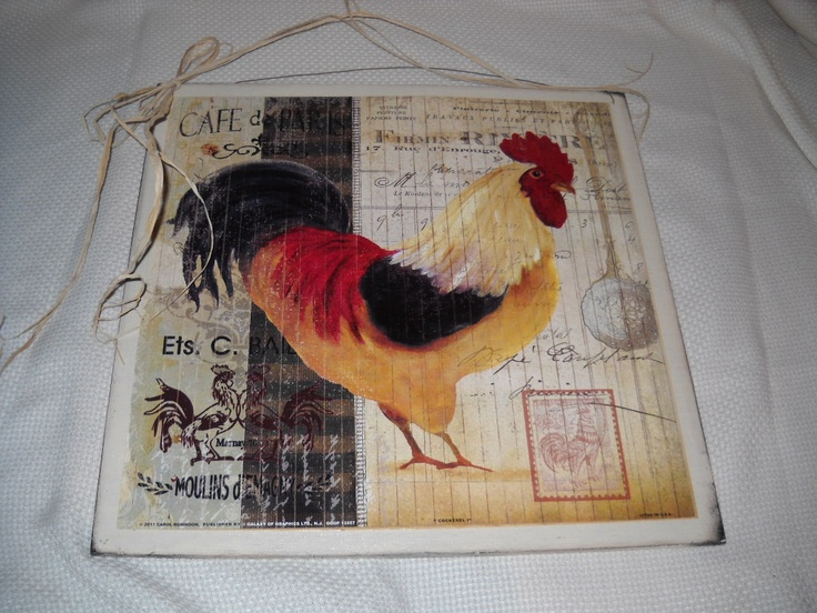 Cafe de paris rooster wooden kitchen wall art sign french - Rooster wall decor kitchen ...