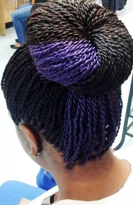 Senegalese w/ a pop of color Braids, Extensions, Twists. Pinterest