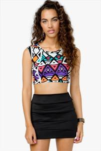 A'GACI Bright Tribal Crop Top - TOPS