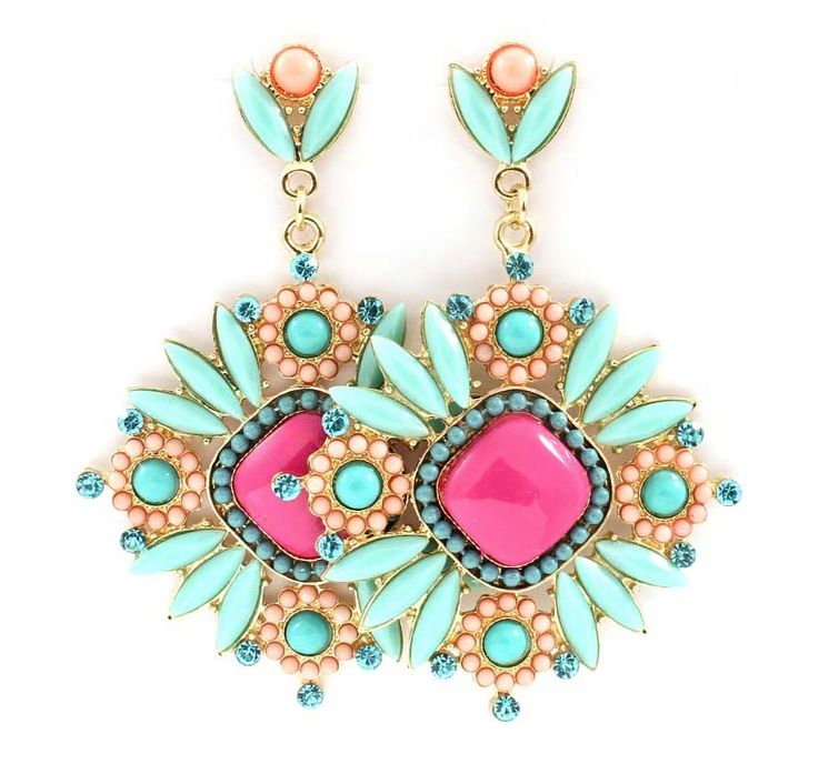 Magnolia Statement Earrings in Turquoise Crush                                     on Emma Stine Limited