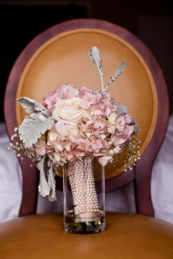 Romantic bouquet with pearls by Randi Lawrence Moore