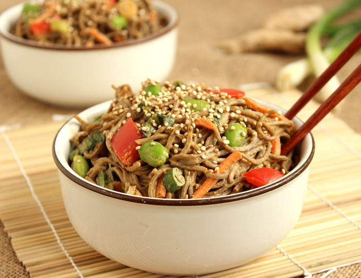 Soba Noodle Salad with Spicy Peanut Dressing and Toasted Quinoa