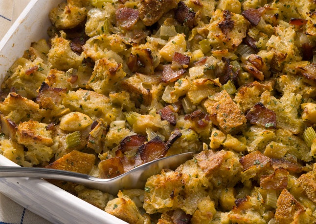 Bon Appétit // Bacon, Apple and Fennel Stuffing #thanksgiving