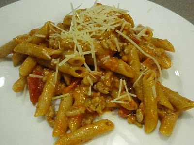 Penne with Sausage & Tomatoes | Healthy pasta dishes | Pinterest