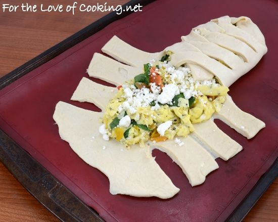 breakfast braid with eggs, roasted red pepper, spinach and feta. From ...