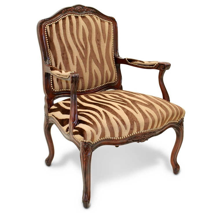 Hand-carved zebra arm chair by Old Hickory Tannery, embossed velvet  tuesdaymorning.com
