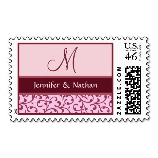 Pink And Burgundy Monogram Damask Wedding
