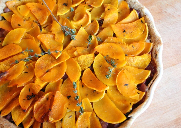 Butternut squash, kale, and balsamic glazed onion tart with whole ...