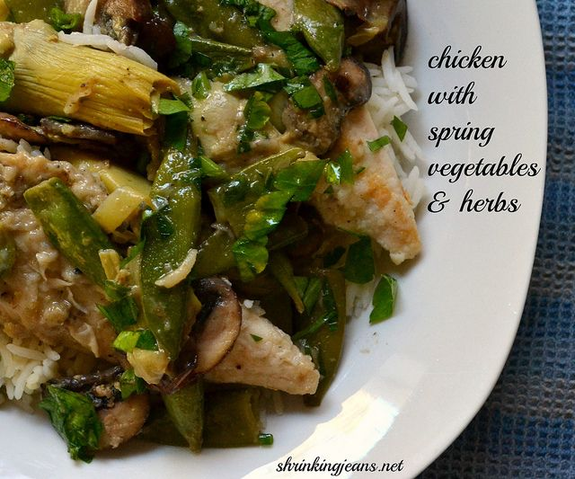 Chicken with Spring Vegetables & Herbs - low carb - Replace flour with ...