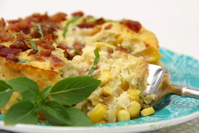 Crustless Quiche w/ sweet corn, fresh basil and applewood-smoked bacon ...