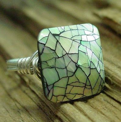 mother-of-pearl mosaic ring