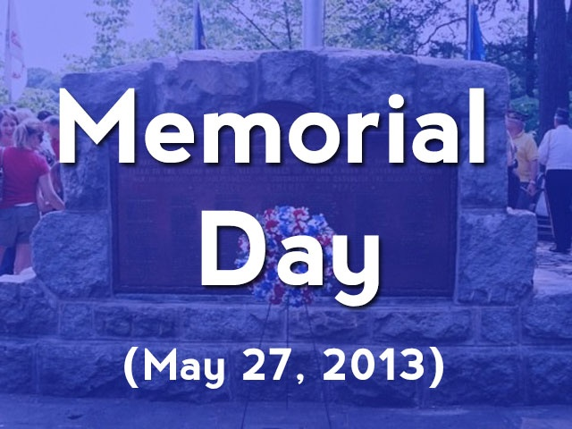 when is memorial day 2013 weekend