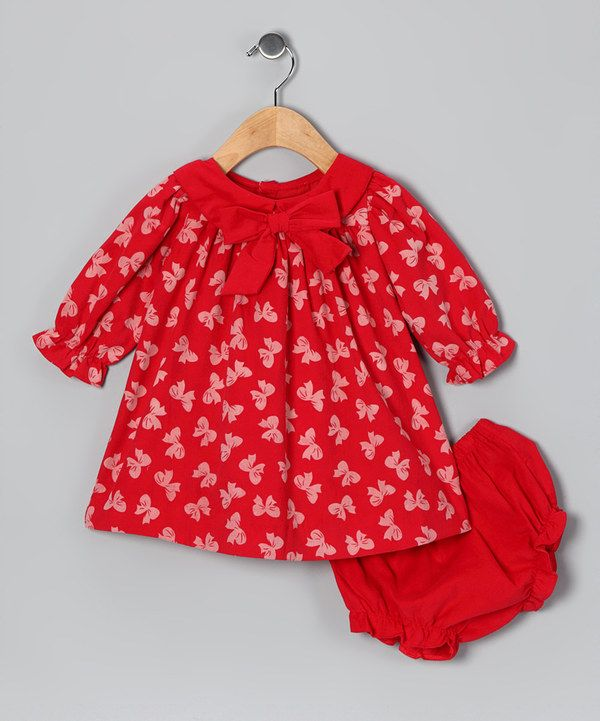 This red bow corduroy dress amp diaper cover infant on zulily today