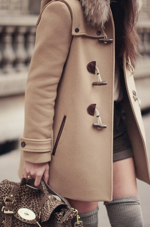pretty coat and thigh high socks