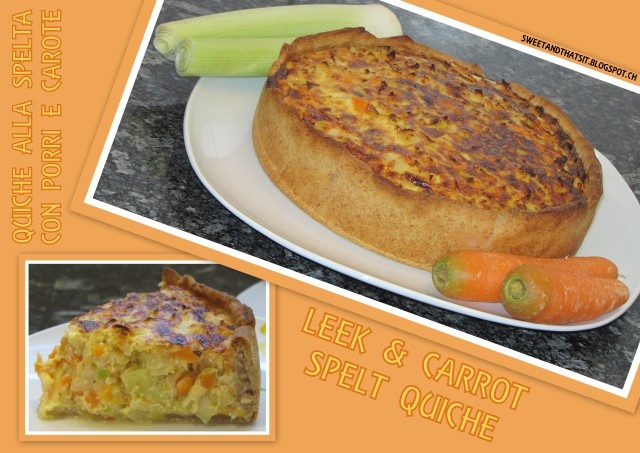Leek and Carrot Spelt Quiche - Quiche alla Spelta con Porri e Carote