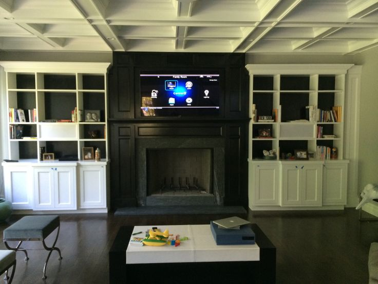 """55"""" LED TV in Black and White Wall Unit. 