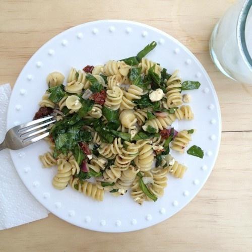 Spinach, Feta, Sun dried Tomato Pasta Salad 1lb Rotelle pasta ¼ cup ...