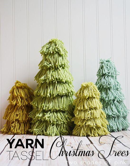 Yarn Tassel Christmas Trees. #christmas #crafts