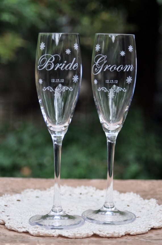 Snowflake Wedding Ceremony Champagne by DesignImageryEngrav, $30.00