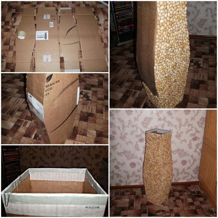 Напольная ваза из коробки своими руками 843