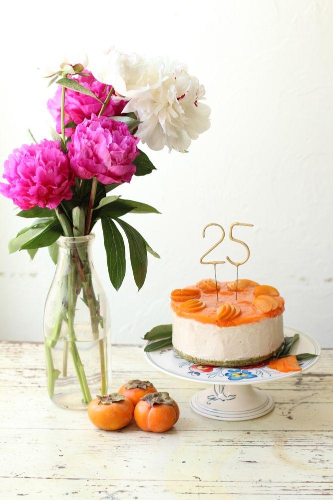 Raw Vegan White Chocolate Persimmon & Pistachio Cake