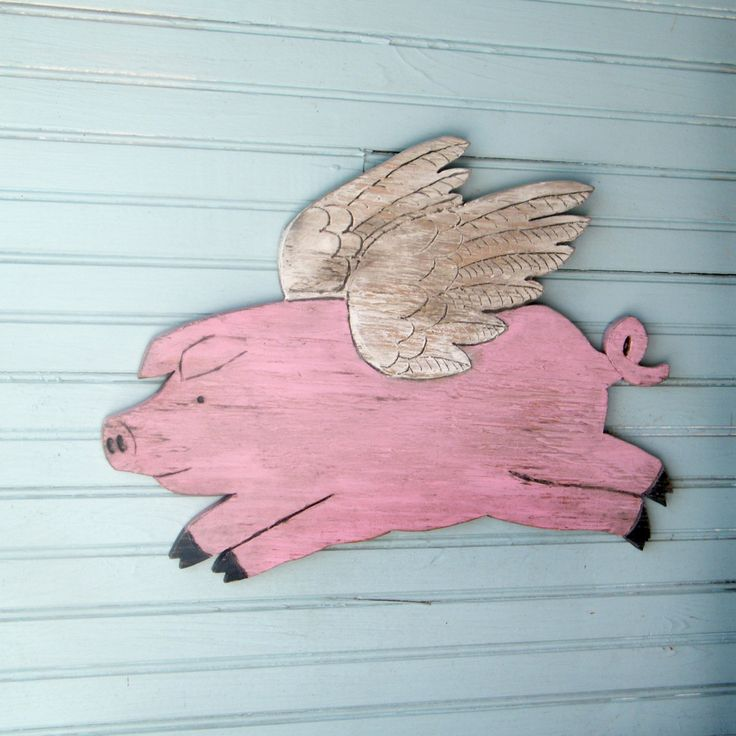 ... Flying Piggy When Pigs Fly Pig with Wings Wooden Pig Sign. $59.00, via