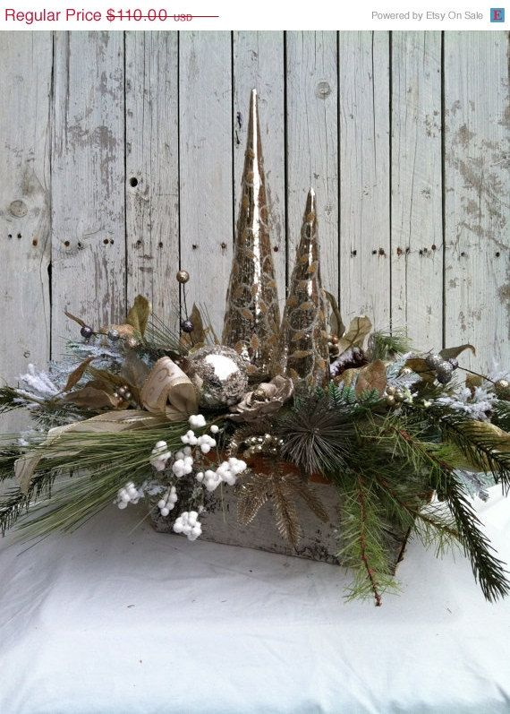 Christmas Centerpiece Elegant Silver Table Centerpiece
