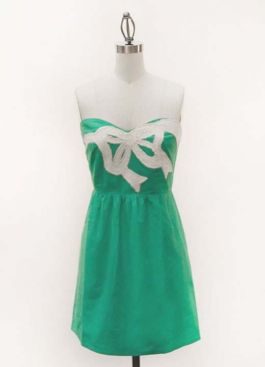 Judith March-teal strapless dress with bow applique