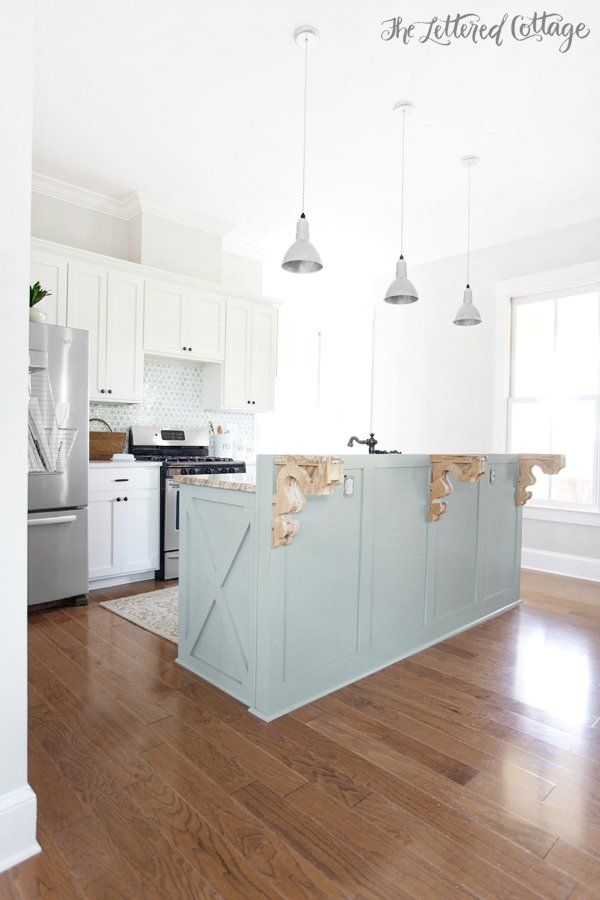 Kitchen  Heather Gray Island  Gray Owl Walls  Simply White Cabinets