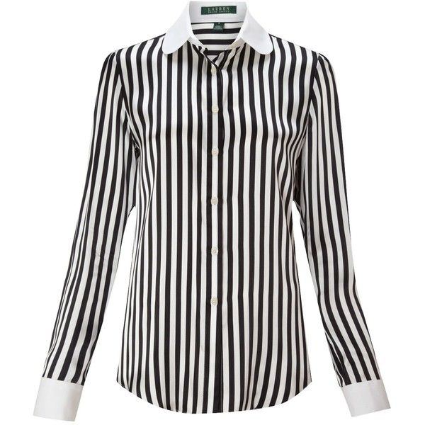 Lauren by Ralph Lauren Callia silk striped blouse ($280) ❤ liked on Polyvore