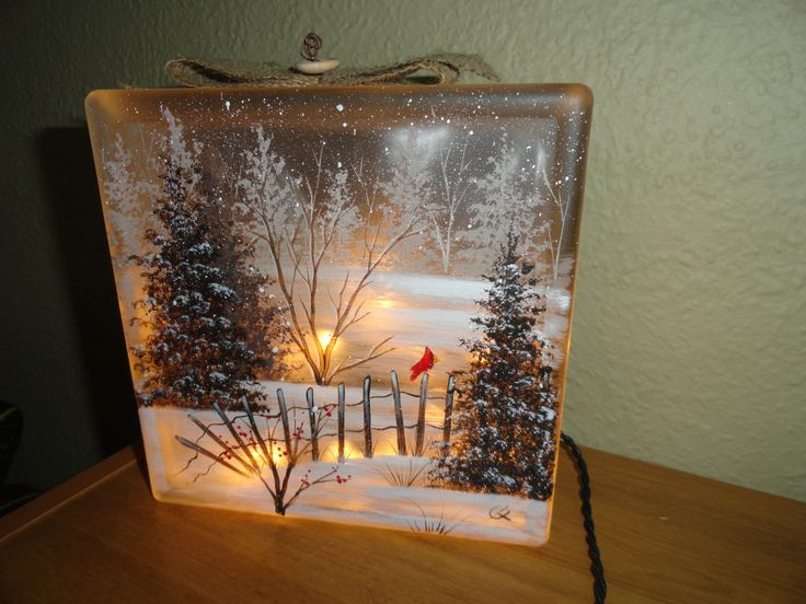 Glass Block Craft Ideas For Christmas Part - 45: HANDPAINTED Winter Wonderland Lighted Holiday Glass Block | Painted Glass  Blocks, Glass Blocks And Glass