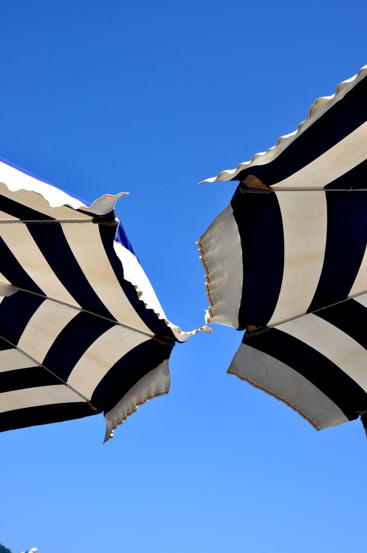 Black and white stripe umbrellas