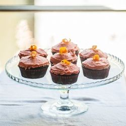 , blood orange cupcakes with olive oil & walnuts. Topped with candied ...