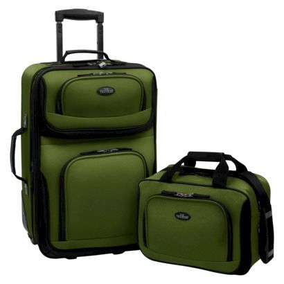 u s traveler rio 2 pc expandable carry on luggage set green. Black Bedroom Furniture Sets. Home Design Ideas