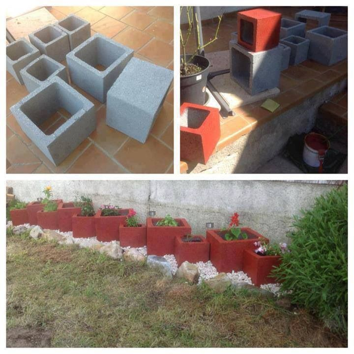 Painted cinder blocks as planters dyi ideas gardening for The block garden designs